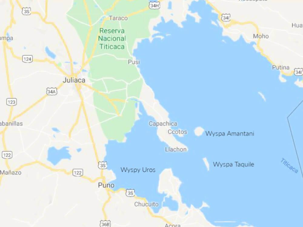 mapa jezioro titicaca