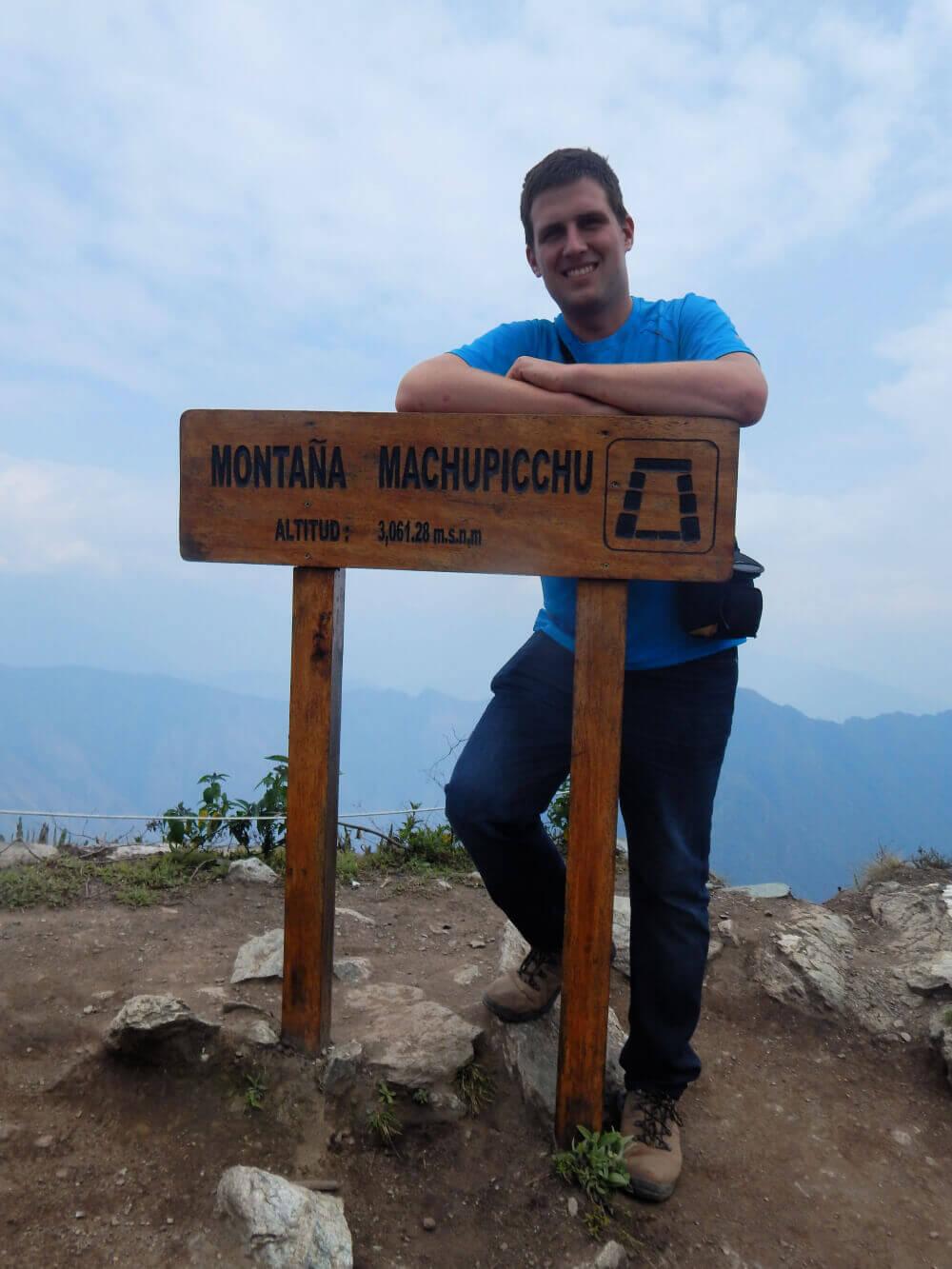 Paweł Wilk na szczycie Machu Picchu